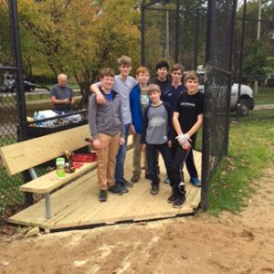 Eagle Scouts working on Henry Schueler Field